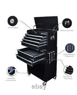8 Tiroir Black Gloss Pro Boîte De Poitrine D'outil Avec Tiroirs À Roulement À Billes