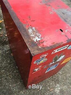 Aligner Vintage Sur 7 Caisson À Tiroirs Boîte À Outils Cabinet Mechanic Garage Réparations Rouge Coffre