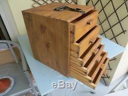 Antique Pine Engineers Coffre À Outils / Boîte, Horlogers Armoires, Tiroirs De Collection