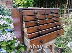 Antique Vintage Engineers Tool Cabinet Coffre De 8 Tiroirs Avec Clé