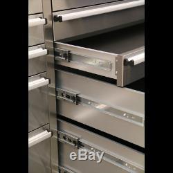 Ap5520ss Armoire À Outils Mobile En Acier Inoxydable Sealey À 10 Tiroirs Et 2 Armoires Murales