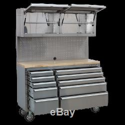 Ap5520ss Sealey Outil Mobile En Acier Inoxydable Cabinet 10 Tiroirs Et 2 Armoires Mur