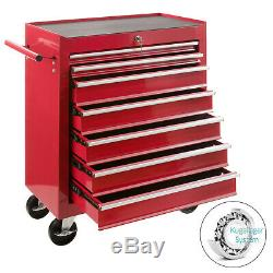 Arebos Outil Chariot 7 Tiroirs Mobile Atelier Chariot Rouge