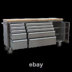 Armoire D'outils En Acier Inoxydable Mobile Sealey 10 Tiroir Et Tableau De Bord Garantie De 1 An