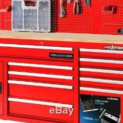 Armoire De Rangement À 10 Tiroirs Panneau Perforé Mur Arrière Robuste Etabli Mobile Rouge