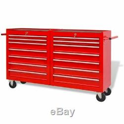 Atelier D'outils Chariot 14 Tiroirs En Acier Garage Atelier Coffre Boîte À Outils Cabinet Rouge