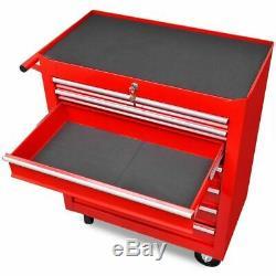 Atelier D'outils Chariot 7 Tiroirs Boîte Cabinet Panier Armoire De Rangement Verrouillables Roue