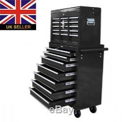Atelier Pro Chariot Boîte À Outils Avec 16 Tiroirs Cabinet Poignées Latérales 4 Roulettes Royaume-uni