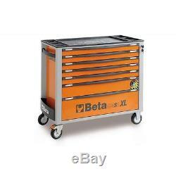 Beta C24sa-xl / 7 Armoire À Galets Extra-longue Avec 7 Tiroirs Et Système Anti-inclinaison Orange