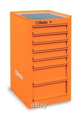 Beta Outils C38l / O Cabinet Latéral Boîte À Outils Rollcab 7 Tiroirs Orange