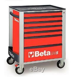 Beta Tools C24s7 / R Coffres À Outils À Roulettes Mobiles Rollcab Rouge À 7 Tiroirs