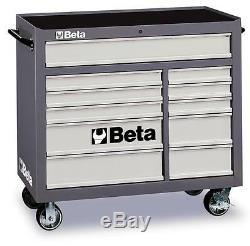 Beta Tools C38g Coffre À Outils À Armoire À Roulettes Mobile, Cabine Grise 11 Tiroirs