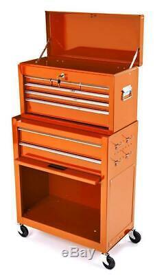 Biketek Acier Cabinet De Roulement Outil Orange Top 8 Tiroirs Boîte De Rangement Pour Garage