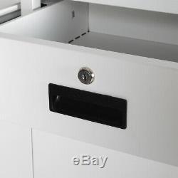 Blanc / Gris Métal 6ft Armoire De Rangement Pour Outils Classeur 2 Tiroirs Bureau Locker