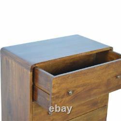Bois Foncé MID Century Solid Wood 3 Tiroir Coffre Incurvé Des Tiroirs Af Cabinet