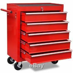 Boîte À Outils De Roue De Boîte À Outils De Stockage De Garage De Cabinet De Chariot À Outil D'atelier Avec 5 Tiroirs