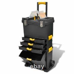 Boîte À Outils En Plastique Extra Grande Sur Roues Roulant Coffret De Rangement 3 Tiroirs