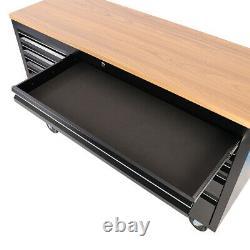 Boîte À Outils Grand Poitrine De 57.9'' Rolling Work Bench Tool Box 10 Tiroirs Cabinet Noir