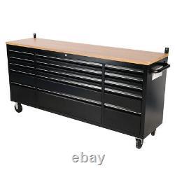 Boîte D'outils De 72 Pouces Et Coffre 10/15 Tiroirs Rangement De Rouleaux Cabinet De Travail Banc Garage