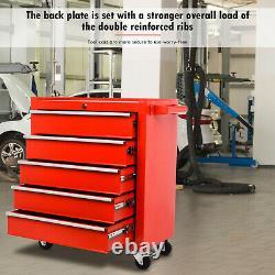 Boîte De Coffre De Coffre De Coffre De Coffre D'outil De Rouleau 5 Tiroirs Roll Wheels Atelier De Garage Rouge
