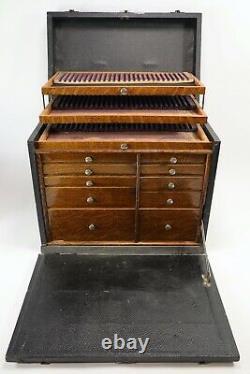 Cabinet Dentaire Antique 10 Tiroirs Dentistes Boîte À Outils Case Wood Jewelry Machinists