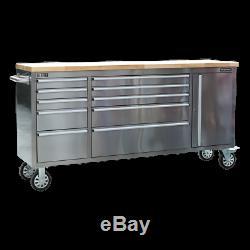 Cabinet En Acier Inoxydable Sealey Mobile Outil 10 Tiroirs Et Armoire Ap7210ss
