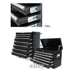 Cabinet Mécanicien Outil Chariot Boîte Avec 16 Tiroirs Poignées Latérales 4 Roulettes Noir