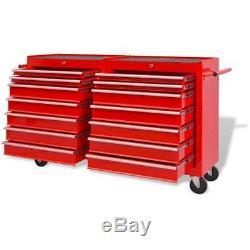 Chariot À Outils Avec Boîte À Outils Portative Verrouillable D'atelier De Garage En Acier De 14 Tiroirs Rouge