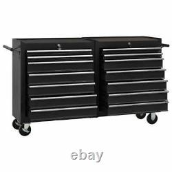 Chariot À Outils Vidaxl Avec 14 Tiroirs Steel Black Tool Storage Drawer Cabinet