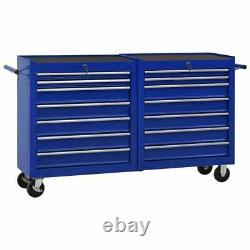 Chariot À Outils Vidaxl Avec 14 Tiroirs Steel Blue Tool Storage Drawer Cabinet