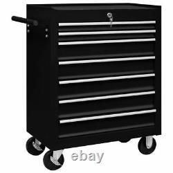 Chariot À Outils Vidaxl Workshop Avec 7 Tiroirs Black Garage Tool Storage Cabinet