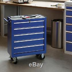 Chariot D'outil 5 Outils Chariot Atelier Tiroirs Coffres En Acier Coffret Boîte Bleu Rouleau