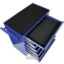 Chariot Porte-outils Atelier Chariot À Roulettes Plateau À Roulement À Billes 7 Tiroirs Bleu