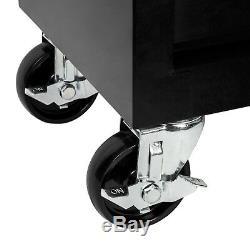 Chariot Porte-outils Atelier Chariot À Roulettes Plateau À Roulement À Billes Coulissant 7 Tiroir Noir