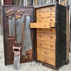 Coffre À Outils Carpenters Antique Banque De Tiroirs Chêne Boiseries Cabinet Fabriqué À La Main