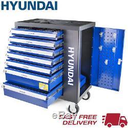 Coffre À Outils Hyundai 298 Pièce Pro 7 Tiroir Castor Monté Sur Roulettes Cabinet Hyundai