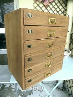 Coffre À Outils Vintage Oak Filing Cabinet Collectors Drawers Watchmakers Engineers