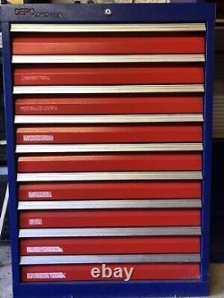 Coffre D'armoire D'atelier D'outillage Lourd En Métal Industriel Avec 9 Tiroirs Vgc