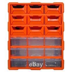 Double 18 Tiroir Garage Outils De Rangement Cabinet Multi Unité Atelier Artisanat Organiser