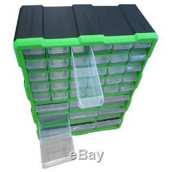 Double Stockage 39 Unité Tiroirs Outils Cabinet Boîte Atelier Organisateur Bricolage Case