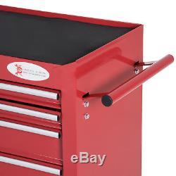 Durhand Armoire À Outils À Roulettes Coffre De Rangement Box 7 Tiroirs Garage Atelier Rouge