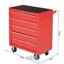 Durhand Rouleau Outil Cabinet Stoarge Box 5 Tiroirs Garage Atelier Coffre-rouge