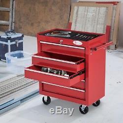 Garage Organisateur Outil Roulant Panier Tiroirs Atelier Rangement Chariot Cabinet Rouge