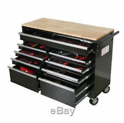 Grand Mobile Workbench Coffre À Outils En Bois Cabinet Travail Surface Supérieure Tiroir De Rangement