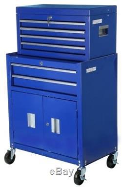 Halfords Tool Center Armoire De Stockage À Roulettes Pivotantes À Verrouillage À Clé Bleu Acier