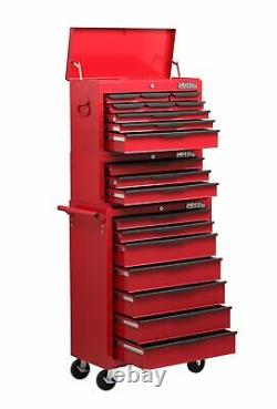 Heavy Duty 19 Tiroir Rolling Tools Trolley Chest Combination Unit Cabinet Rouge