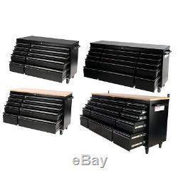Heavy Duty 55/72 Pouces Coffre À Outils 10/15 Tiroirs Rouleau Cabinet Garage Boîte De Rangement
