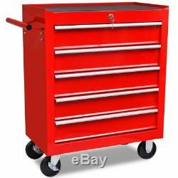 Heavy Duty Atelier De Stockage Chariot 5 Tiroirs Outil Red Box Cabinet Roue Boîte À Outils