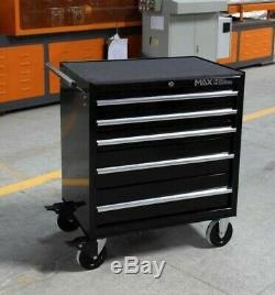 Hilka Coffre À Outils Chariot 5 Mobile Black Metal Tiroir De Rangement Panier Cabinet Boîte
