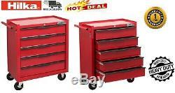 Hilka Coffre À Outils Chariot 5 Tiroir Red Metal Mobile Rouleau Roues Armoire De Rangement
